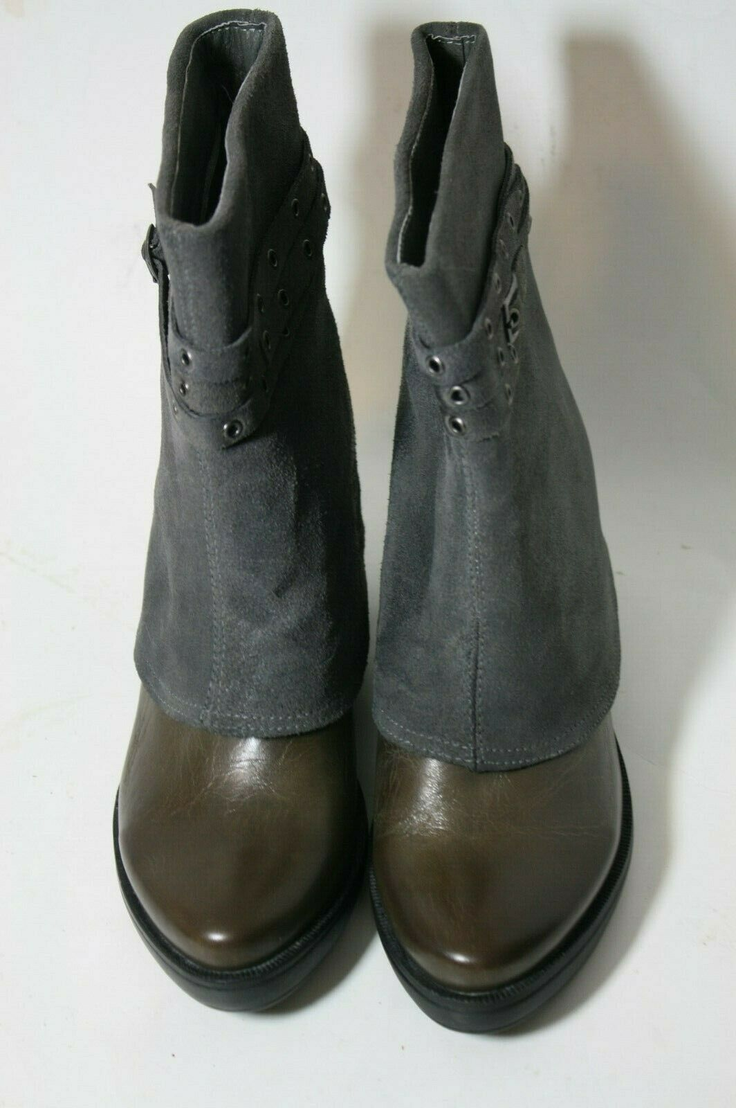 ANTELOPE SHOES BELTED WEDGE WEDGE WEDGE BOOT GREY SUEDE LEATHER PULL ON ANKLE BOOTIES 37 NEW 9ffafd