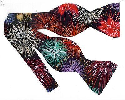 Pre-tied Bow tie Patriotic Colorful Fireworks on Black Fireworks Bow tie
