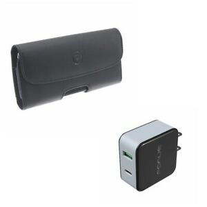 For-Galaxy-Note-10-36W-Quick-Home-Charger-w-Leather-Case-Belt-Clip