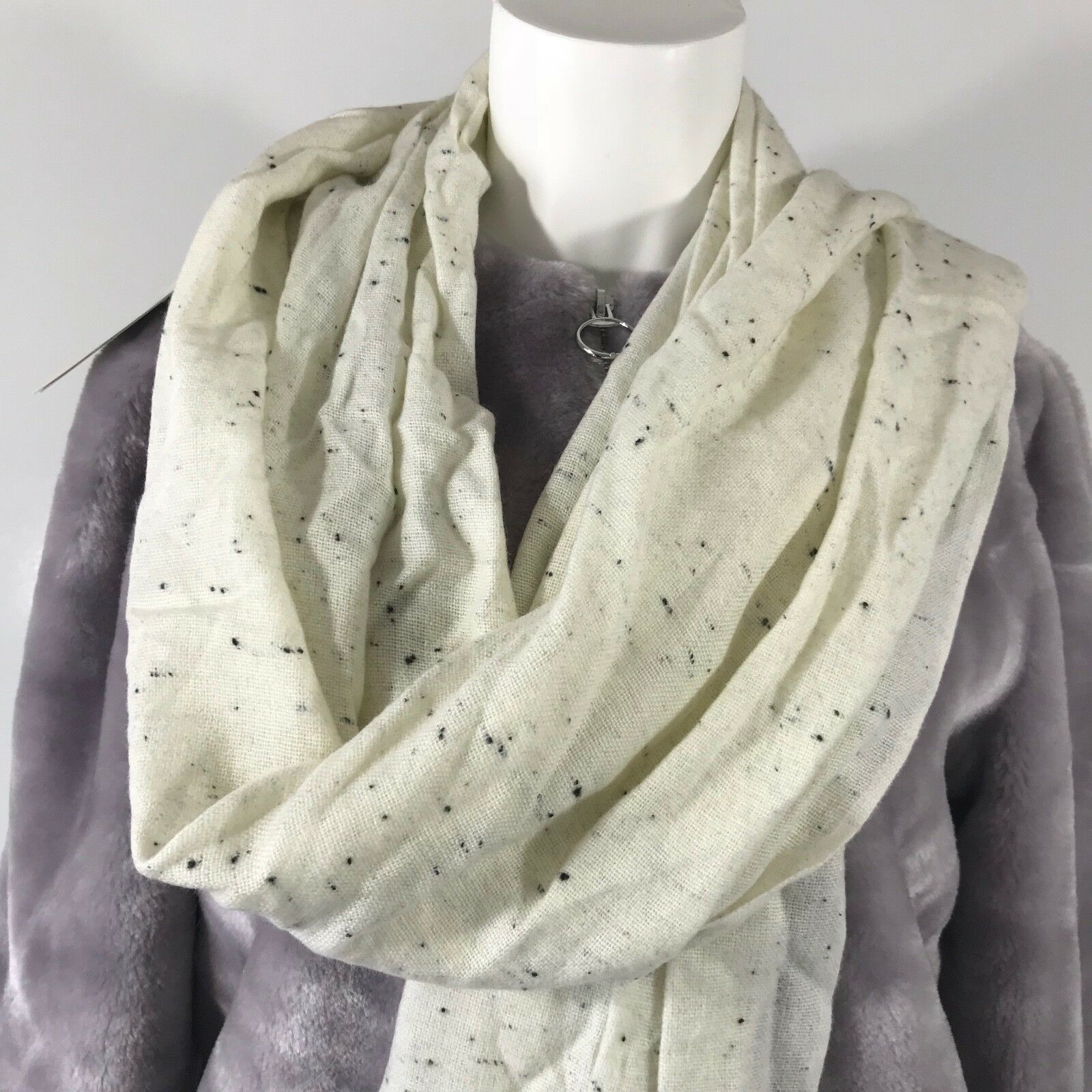 A New Day Long Rectangular Scarf Drape Ivory and Gray with Fringes on the Ends