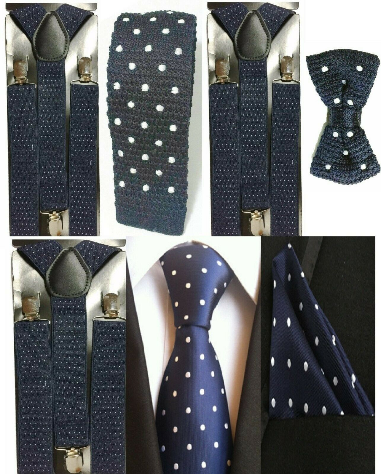 Men's Polka Navy Dot Braces Suspender + Bowtie / Pocket Square / Tie Knit Satin