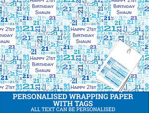 Image Is Loading Personalised Happy 21st Birthday Wrapping Paper Male