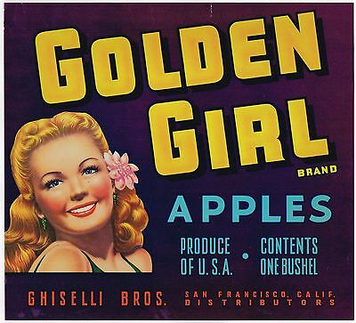 CRATE LABEL VINTAGE ADVERTISING SAN FRANCISCO APPLE SCARCE GOLDEN GIRL PIN UP