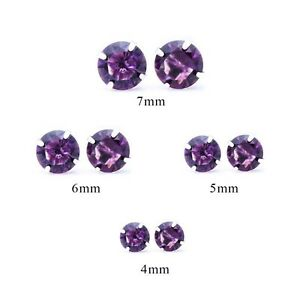 Women-Men-925-Sterling-Silver-Stud-Earrings-Purple-AAA-CZ-Stud-Earrings