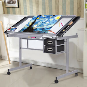 Home Hobby Craft Table With Storage Drafting Draftsman