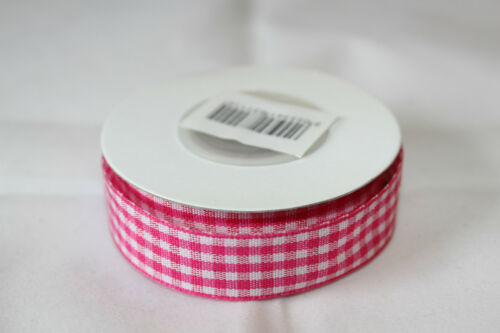 Déploiement complet ruban vichy tissu avec bord tissé 15mm x 10m-couleurs diverses