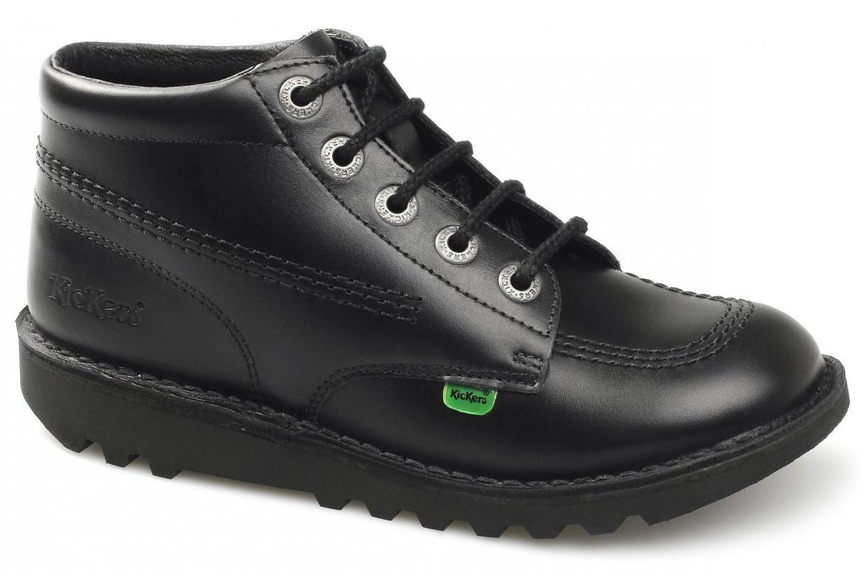 KICKERS KICK HI Core pour Homme en cuir robuste chaussure lacée Bottines intelligent Rembourré Noir