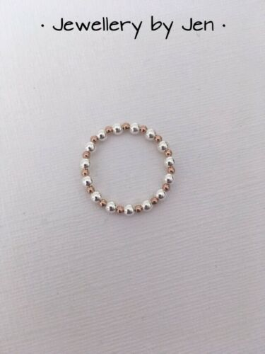 Rose Gold /& Sterling Silver Stretch Stacking Ring Handmade 925