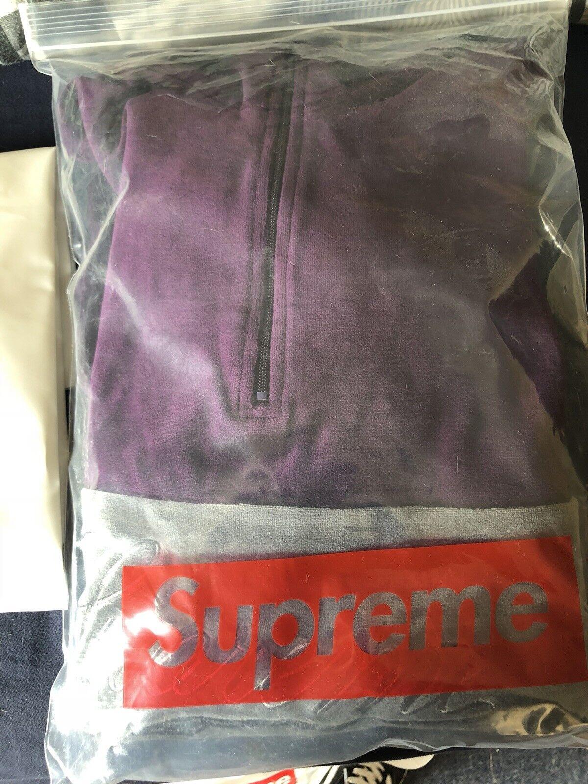 Supreme Velour Half Zip Pullover lila Größe XL FW17 9.8/10 BELOW RETAIL STEAL
