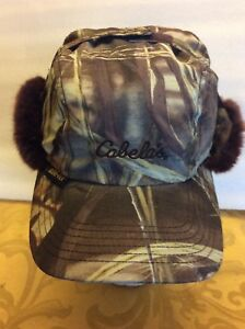 6fa449e20 Details about Cabelas Thinsulate Camo Hunting Hat Mossy Oak Faux Fur  Gore-Tex Size Small