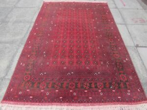 Fine-Old-Hand-Made-Traditional-Afghan-Oriental-Wool-Red-Large-Rug-242x158cm