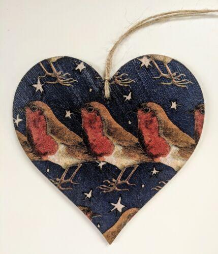 Medium Wooden Heart in Emma Bridgewater Robin in a Starry Night 10cm