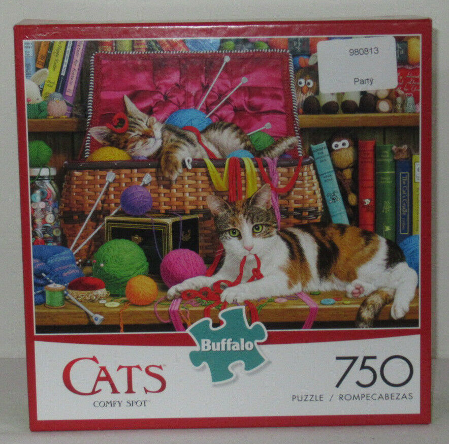 Buffalo Games 750 Piece Puzzle Cats COMFY SPOT kittens playing in yarn basket