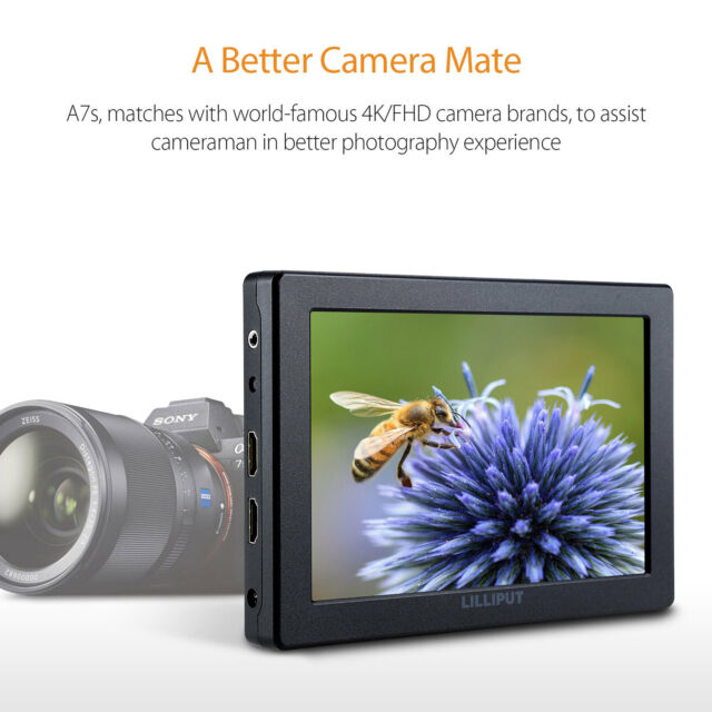 """Lilliput A7S 7"""" Loop Output HD IPS Field Monitor Camera For Panasonic GH5 SONY."""