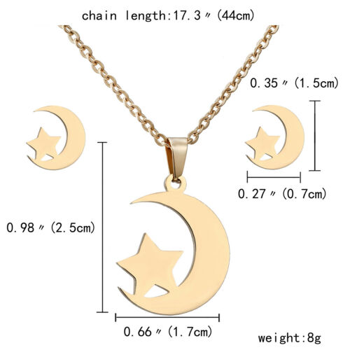 Vintage Women Stainless Steel Jewelry Sets Gold Pendant Chain Necklace Earrings