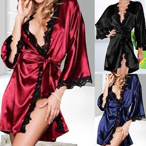 5276032e838 Women Sexy Nightdress Satin Lace Kimono Sleepwear Lingerie Dress ...