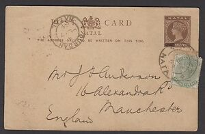 """South Africa-Natal 1894 QVic 1½d postal card revalued to ½d """"PENNY"""" blacked out"""
