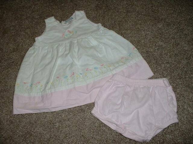 Carter's Baby Girls Sweet Daisy Dress Set Size 6M 6 months Pink White 3-6 mos