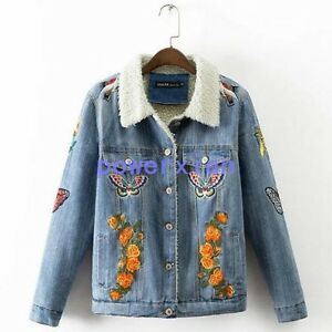 Tiger Floral Butterfly Embroidered Brushed Denim Jacket Womens Jean