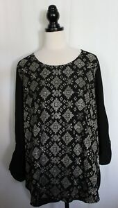 SUSSAN-Black-Viscose-Long-Sleeve-Tunic-Top-w-Silver-Metallic-Embroidery-NWT-18