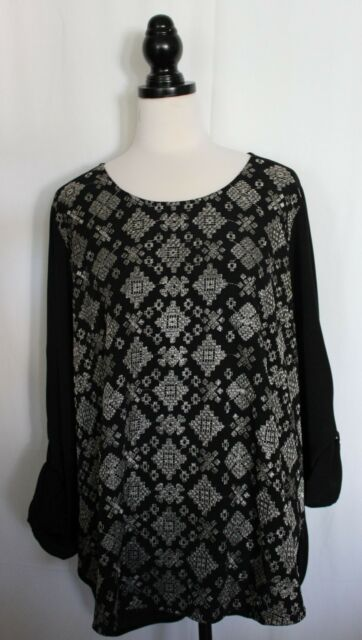 SUSSAN ~ Black Viscose Long Sleeve Tunic Top w Silver Metallic Embroidery NWT 18