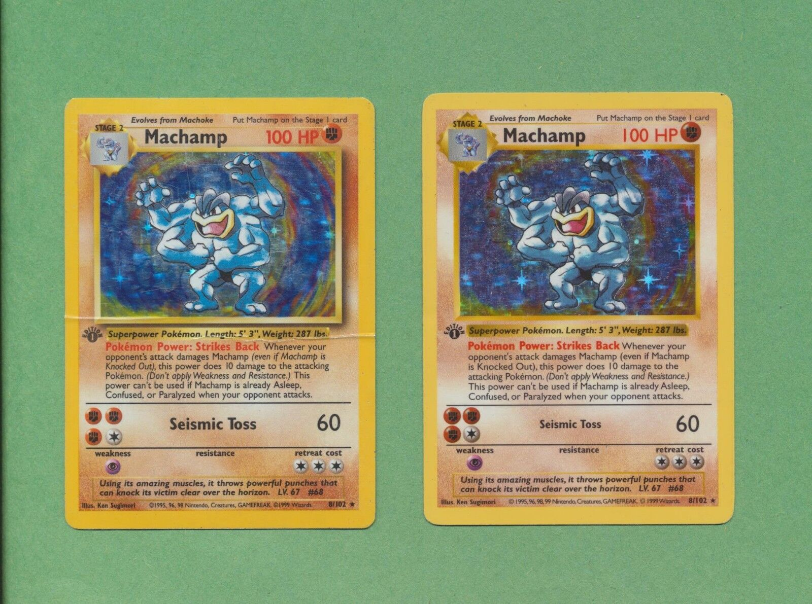 2 Card Lot 1999 Pokemon Shadowless & Unlimited Machamp 1st Edition Low Mid Grade