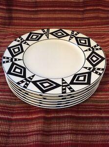 Set of (6) Villeroy & Boch WONDERFUL WORLD Timbuktu black & white Salad Plates