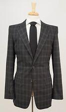 $2095 GUCCI Dark Gray Plaid Check Wool Blend Dual Vent Jacket Blazer 36 38 L
