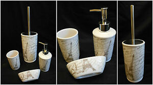 Eiffel tower print bathroom toilet accessory 4 set toilet for Eiffel tower bathroom accessories
