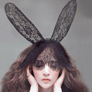Costume-Party-Lace-Rabbit-Bunny-Long-Ears-Veils-On-Headband-Hairband-Dress-GT