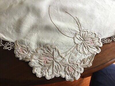 Antique Cream Linen Tablecloth Suppercloth
