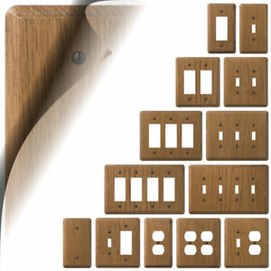 Details About Medium Oak Switch Plate Cover Rustic Wood Wallplate Outlet Rocker Toggle Duplex