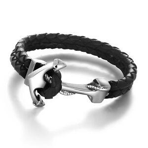 Image is loading Genuine-Leather-Anchor-Stainless-Steel-Bracelet-Bracelet- Bangles- 9a8d63af0f8