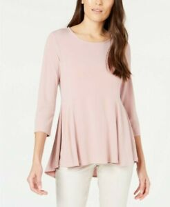 NWT-Alfani-Women-039-s-Knit-Solid-Flare-High-Low-Top-Pottery-Clay-Size-XLarge-Macys