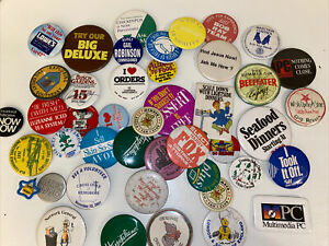 Vintage-Lot-of-40-Miscellaneous-Mixed-Buttons-Pins-Backs-Collection