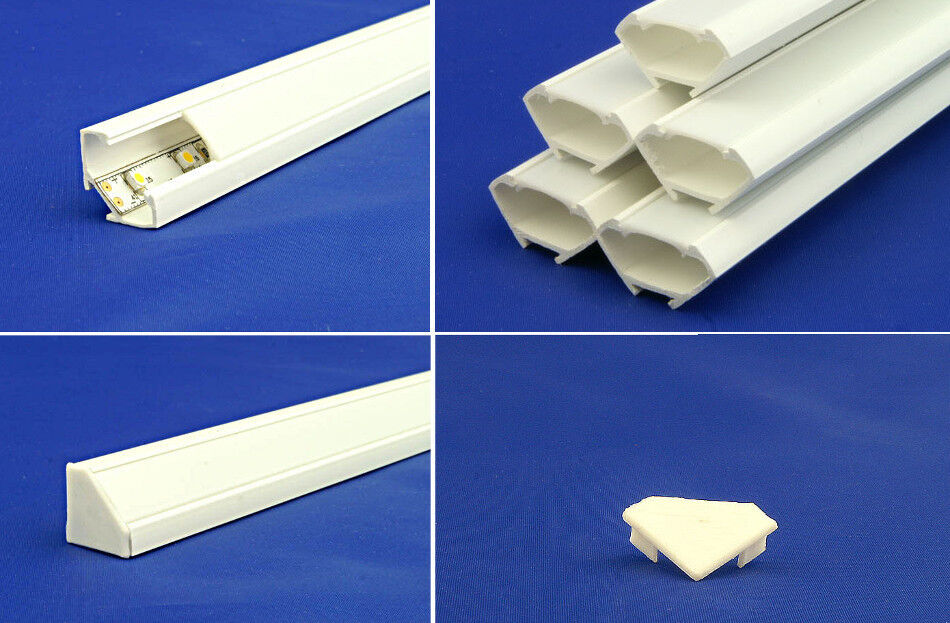 10M 5x6.6ft LED Corner channel Profile for LED Strips self adhesive with endcaps