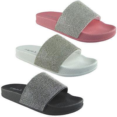 Nuevo para mujer señoras Diamante control deslizante de Goma Cómodo Zapatos sin Taco diapositivas Zapatillas Tamaño