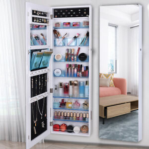 Full-Mirror-Jewelry-Cabinet-Armoire-Cosmetic-Storage-Boxes-Lockable-Wall-Mounted