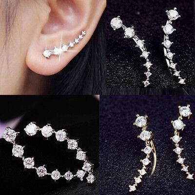 women Lady Silver & Gold Plated Chic Crystal Earrings Ear Hook Gifts 1 Pair