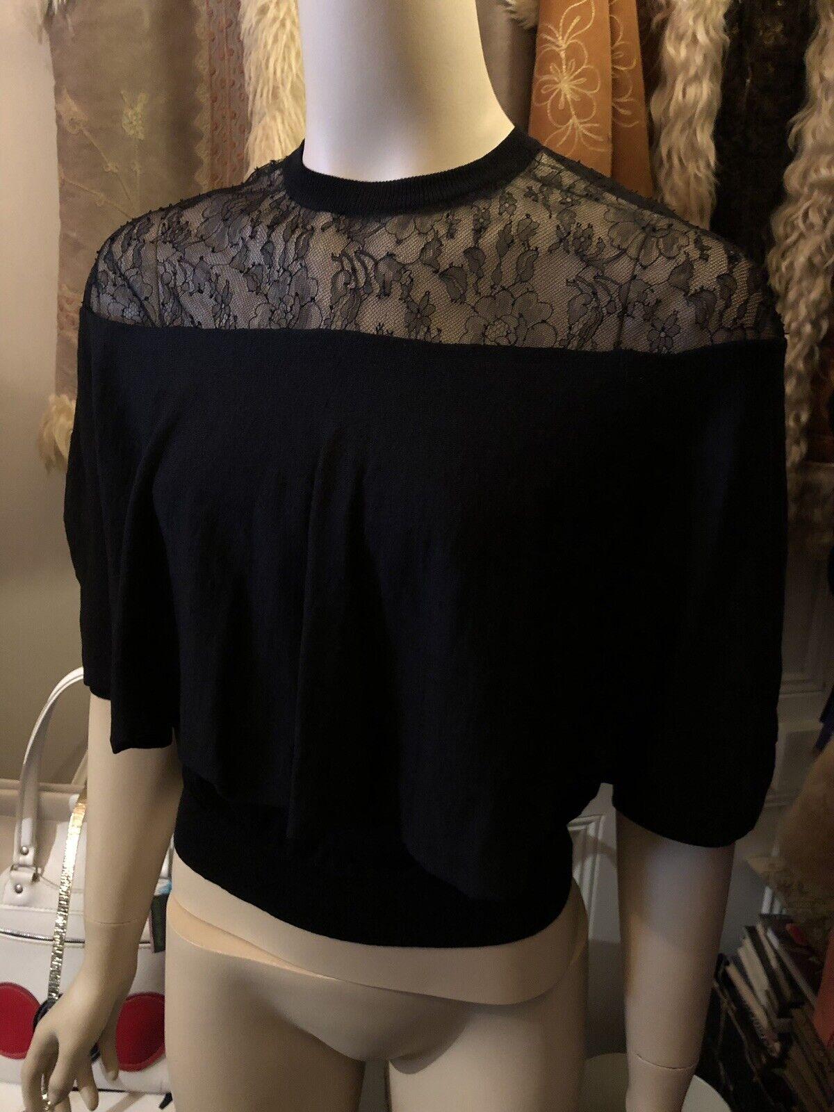 BNWT Valentino  SpA Jersey De Punto Lana & Lace Knitwear Cape Hecho En Italia Talla S  en promociones de estadios
