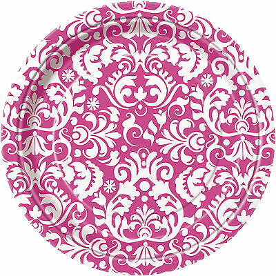 PINK DAMASK Party Range (Birthday/Bridal Shower/Napkins/Plates/White)