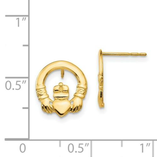 Details about  /Real 14kt Yellow Gold Madi K Claddagh Post Earrings