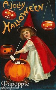 Fabric-Block-Halloween-Vintage-Postcard-Image