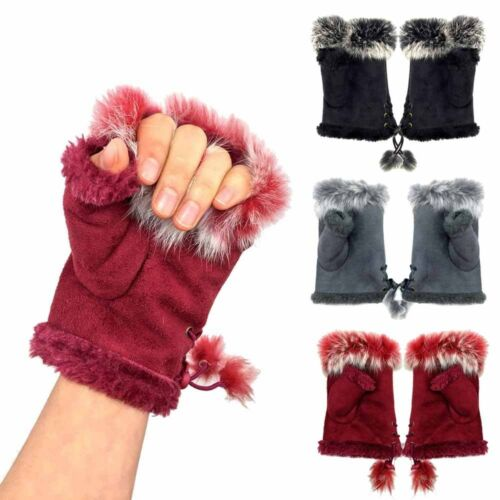 Women Ladies Winter Faux Fur Fingerless Gloves Mittens Soft Warm Fur Lined NE8X