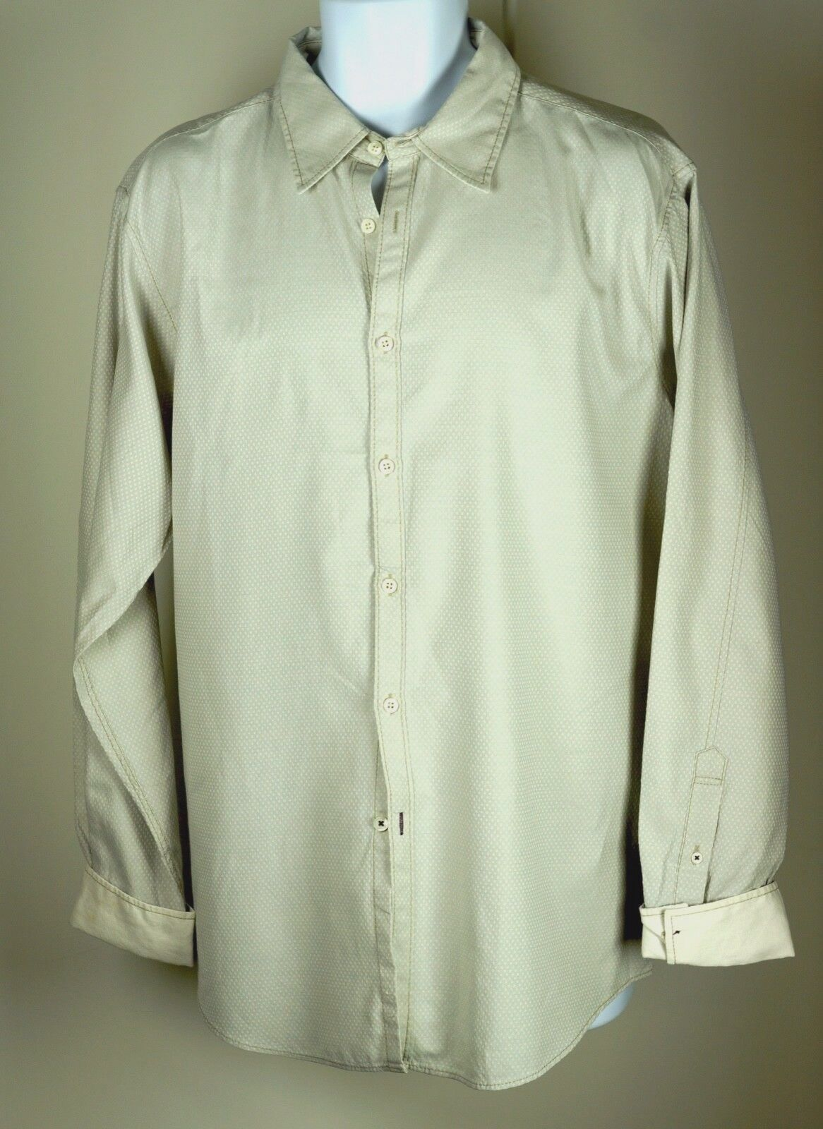Men's Shirt-by-Shirt SBS Authentic Polka Dot Beige Light bluee Shirt XL NWOT