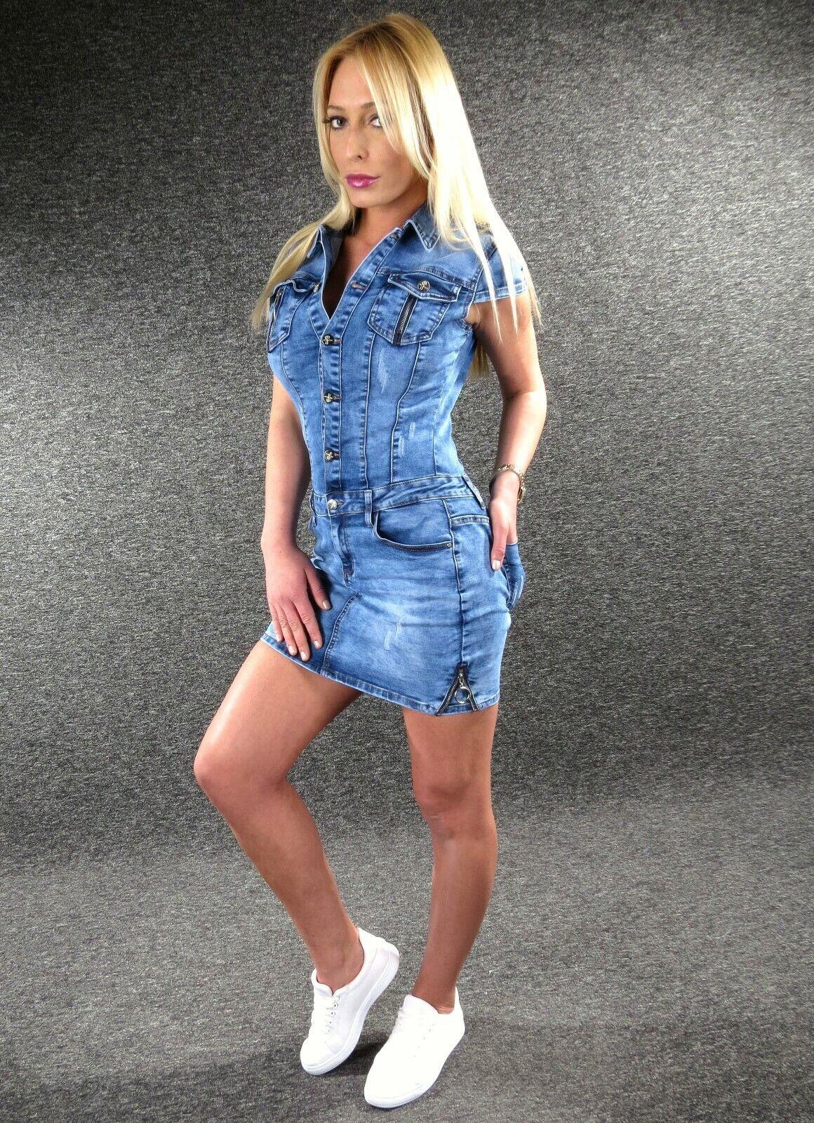 Stretch Robe en Jeans Mini Xs S M L XL Zazou Combinaison E2395