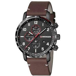 Wenger Attitude Quartz Black Dial Brown Leather Chrono Men's Watch 01.1543.107