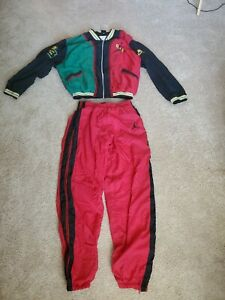 RARE-Nike-Air-Jordan-Tracksuit-Sweatsuit-Green-Yellow-Red-Unknown-Size-Small