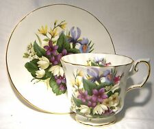ELIZABETHAN CUP & SAUCER FLOWERS OF THE SEASONS SPRING  IRIS PRIMROSE