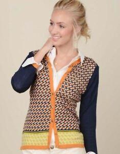 Spartina 449 Fair & Square Cardigan 3/4 Sleeve Lightweight Merino Wool Size S